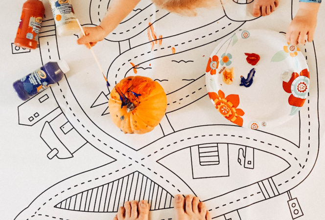 diy pumpkin decorating for babies and toddlers / gathre mat