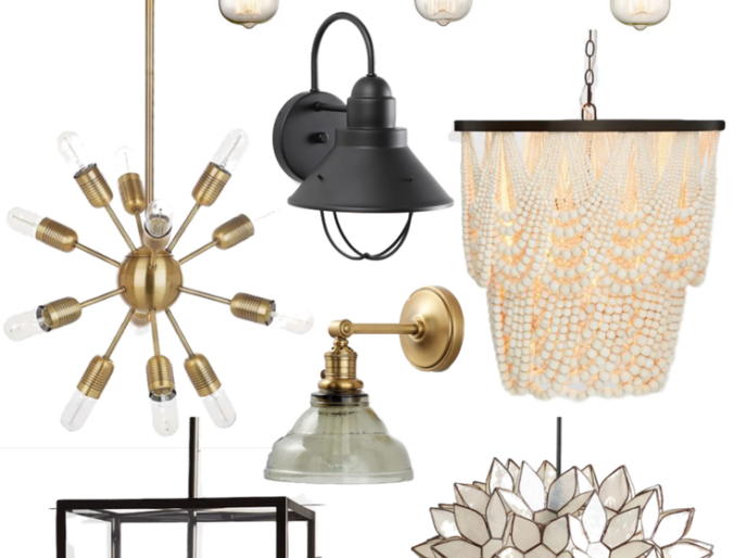 the best bohemian modern farmhouse lighting for your home on a budget with gold and black accents