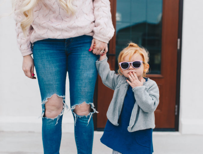 a cute affordable fall sweater look for mommy and me / women and kids