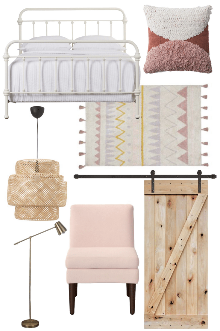 boho bohemian inspired bedroom for a toddler girl with white gold and pink accents