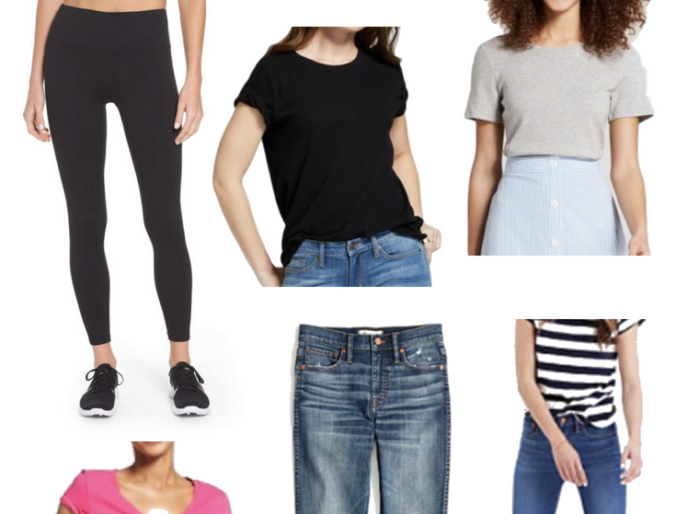 best basic pieces tees, jeans and leggings for the modern mom that are affordable