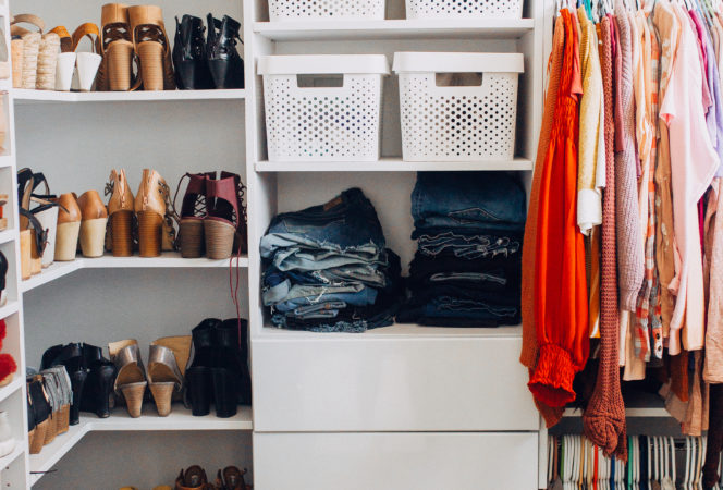 master walk in closet or look in on a budget with tons of shoe shelving, organization, hanging racks and storage solutions to create your dream closet