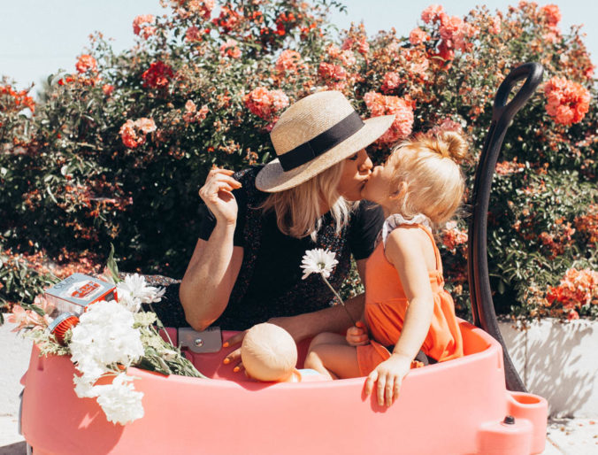 cute mommy and me floral pictures with summer skincare and olay