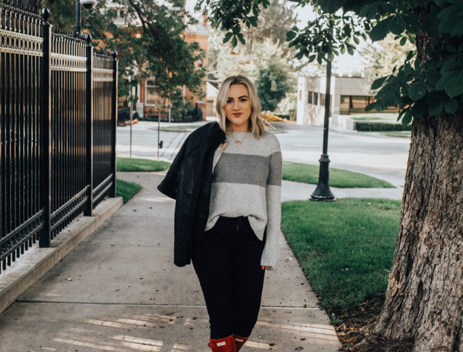 fall inspired sweater, leather jacket and hunter boots combination with a good pair of black solid jeans for that transition from summer to fall time positively oakes jess mom style fashion on pinterest