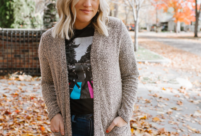 easy maxi cardigan and graphic tee style with skinny jeans and over the knee boots that are black and adjustable in size // cute over the knee looks for moms and women