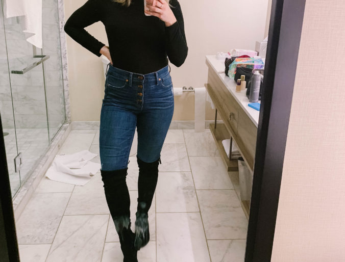 high waisted jeans / with black turtleneck and otk boots