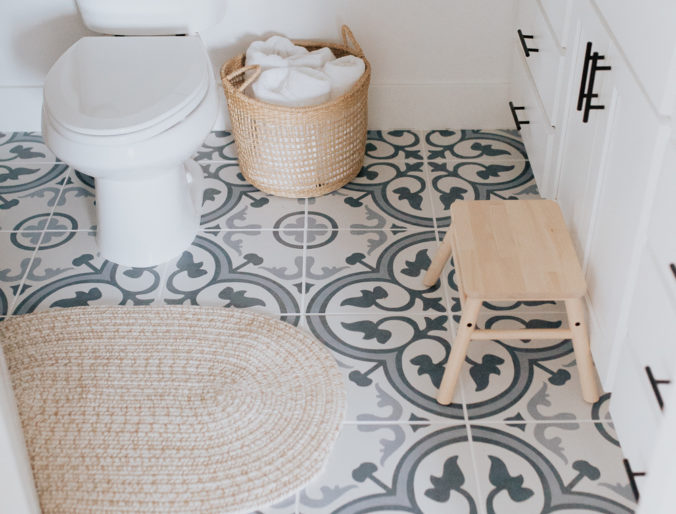 bohemian boy blue and white with natural wood accents modern bathroom and italian cement tile