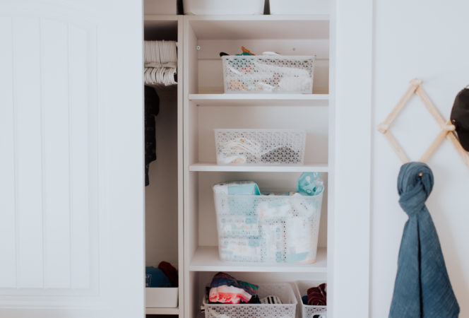 baby closet organization ideas for a small closet with bins and shelving