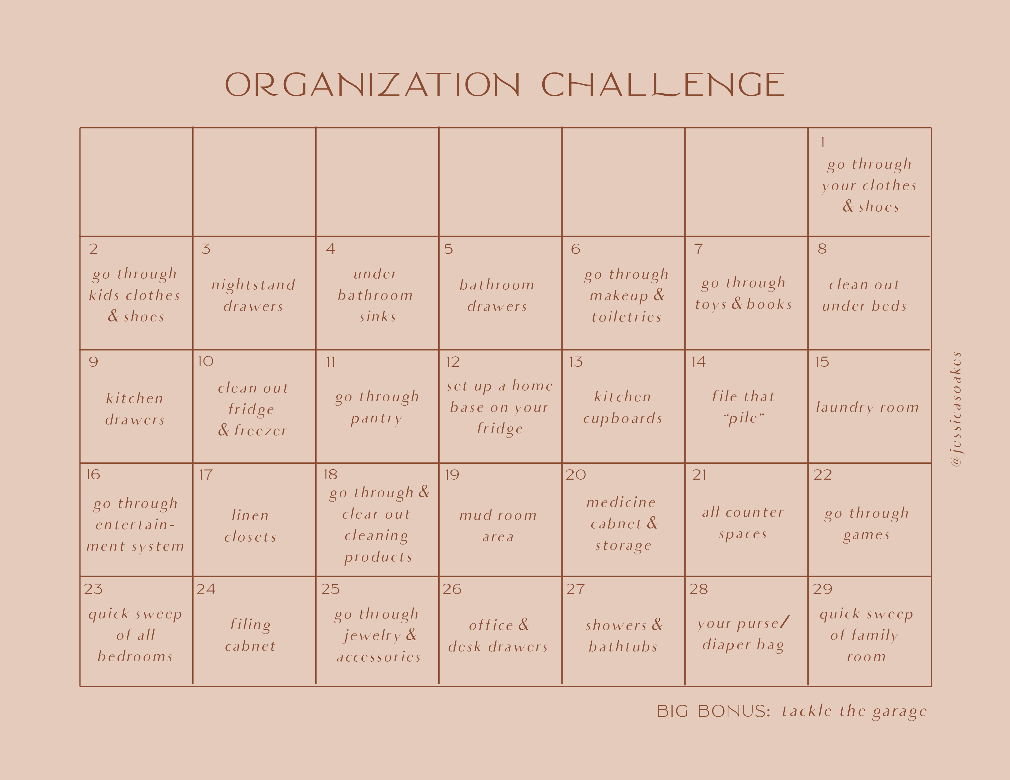 organization challenge desktop printable jess oakes positively oakes february