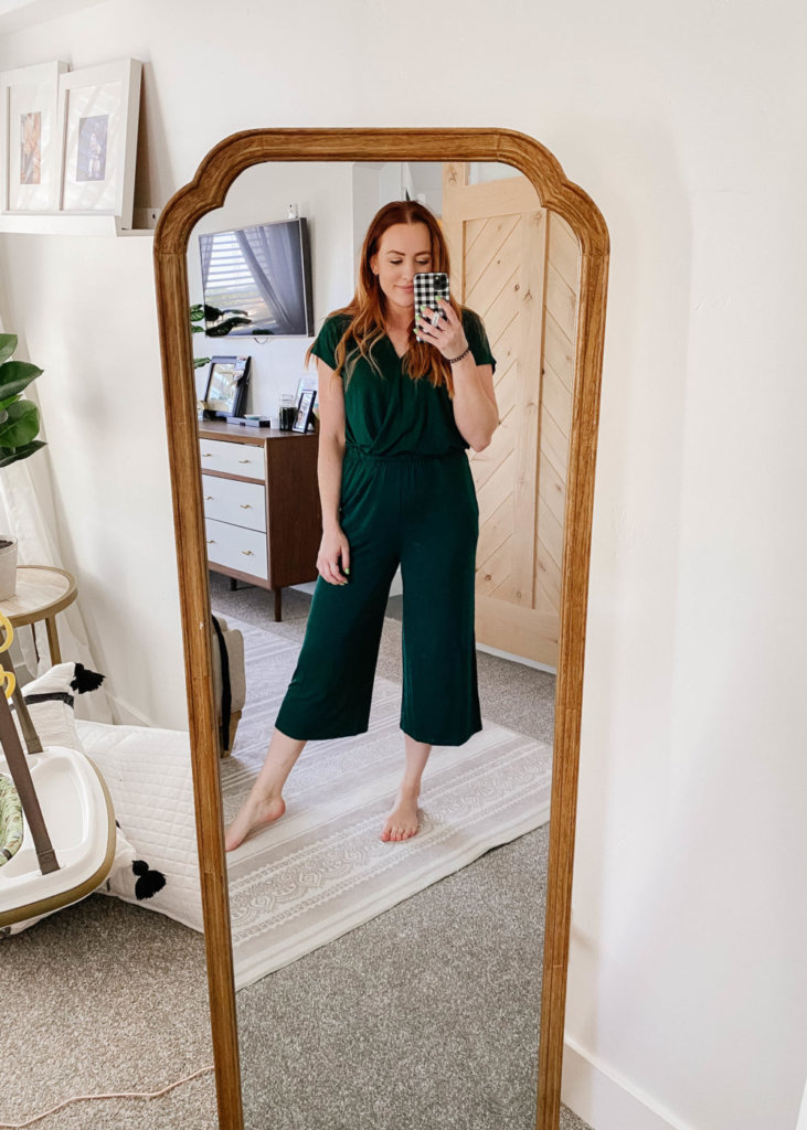 amazon try on with jess oakes / jessica oakes / hunter emerald green  loose fitting jump suit romper that is nursing friendly