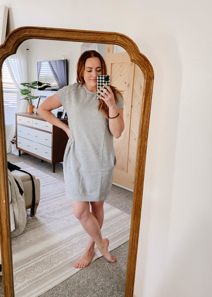 amazon try on with jess oakes / jessica oakes / gray midi short sleeve dress / summer dresses