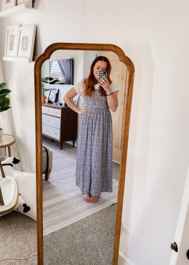 amazon try on with jess oakes / jessica oakes / gray midi short sleeve dress / summer dresses