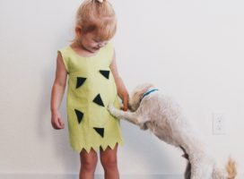 diy pebbles costume / no sew pebbles costume / easy toddler pebbles costume for babies